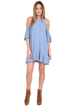 Blue Off The Shoulder Mini Dress