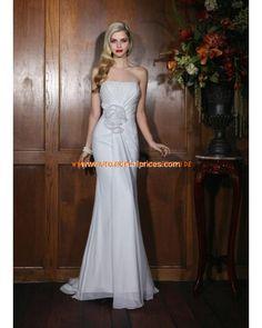 Trägerlos Kolumne Bodenlang Elegante Brautkleider 2013 aus Chiffon mit Blumen