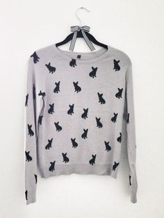 Um... can someone buy this for me? K, thanks.     French Bulldog Sweater Gray with Black Frenchies by MissPiggyUSA, $30.00