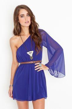 Royal blue one sleeve dress