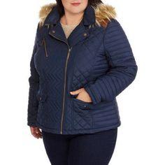 Maxwell Studio Women's Quilted Chevron Puffer Coat Fur-Trim Hood, Navy Blue, XL