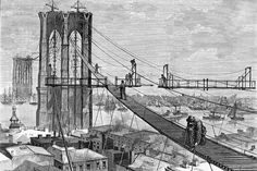 Brooklyn Bridge: The Footpath, 1877    Schell & Logan. Engraving: Harper's Weekly; March 31, 1877. A view of the wooden pathway leading up to the Brooklyn Tower of the great Brooklyn Bridge. It is not certain what the function of the footbridge was, but it can be speculated that it was needed to get the heavy cables strung