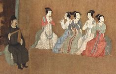 12th-century Chinese painting of The Night Revels of Han Xizai (韓熙載夜宴圖) showing musicians dressed in Hanfu