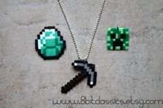 Minecraft Necklace - Choose pickaxe, diamond or creeper. $6.50, via Etsy.