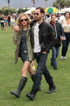 Kate Bosworth festival fashion at  Coachella with her boyfriend Michael Polish.