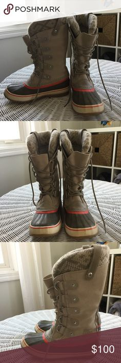 Sorel boots. Really good condition. Really cute colors. They just don't fit my feet right. Perfect for cold snow winter nights! Keep your feet really warm. Like new. Only worn once. It's says there size 7 but I'm a true 71/2 and they fit with thick socks. Sorel Shoes Winter & Rain Boots