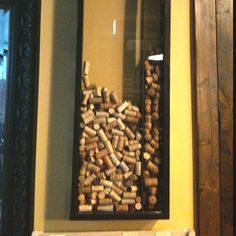 wine cork display frame with a hole at the top