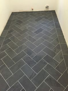 Herringbone tile floor with border.this, but with white subway tiles and carrara marble thin border for master bath? {Week One Room challenge – Greige Design} Slate Flooring, Bathroom Flooring, Kitchen Flooring, Laundry Room Floors, Entryway Tile Floor, Laundry Rooms, Kitchen Tiles, Gray Tile Floors, Entry Tile