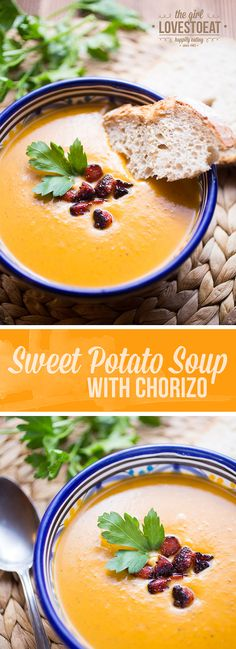 Looking for a comforting bowl of soup? Try this spicy sweet potato soup with chorizo. It's super easy and so satisfying. Spicy Sweet Potato Soup, Spicy Soup, Spicy Tomato Sauce, Chili Recipes, Soup Recipes, Cooking Recipes, Chorizo, Garlic Soup, Winter Soups