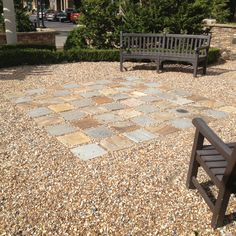 Pea gravel or small river rocks with slate tile pieces make for a great sitting area in your yard! Saw this done in Newnan GA