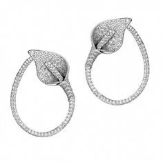 Calla Lily Hoop Earrings with pavé diamonds, set in white gold Diamond Hoop Earrings, Pendant Earrings, Diamond Jewelry, Stud Earrings, Lotus Jewelry, Flower Jewelry, High Jewelry, Jewelry Accessories, Jewelry Collection