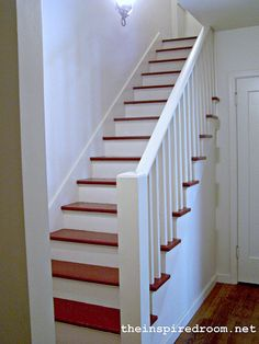 Red painted stair treads -- simple and pretty