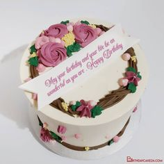 Beautiful Flowers Birthday Cake With Name Or Wishes Online Birthday Cake With Flowers, Beautiful Birthday Cakes, Wish Online, Cake Templates, Cake Name, May Birthday, Cake Online, Happy Birthday Messages, Are You Happy