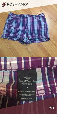 Purple Plaid Shorts Shorts are made from cotton however they are blended with spandex which makes the material stretchy. Faded Glory Shorts