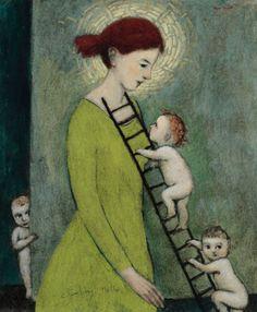 Brian Kershisnik's: Climbing mother.