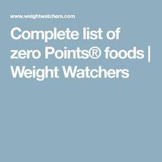 Complete list of zero Points® foods   Weight Watchers