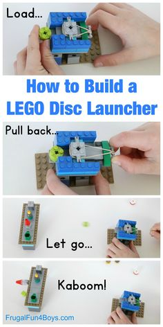 How to Build a LEGO Disc Launcher: A fun brick contraption - Frugal Fun for Boys and Girls - Lego Lego Duplo, Lego Letters, Lego Candy, Lego Challenge, Lego Club, Lego Craft, Lego Games, Lego For Kids, Lego Instructions