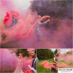 colorado mountain wedding silverlake lodge smoke bombs bridal party