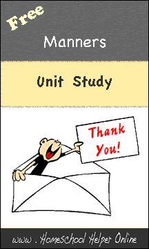 Homeschool Helper Online's Manners Unit Study