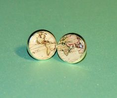 Vintage World Map Resin Post Silver Earrings by MyBlossomCouture, $14.16