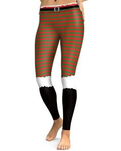 587a4dc5b4 Striped Christmas Elf Funny Design Print Workout Gym Stretchy Leggings