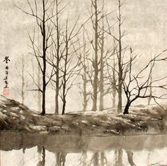 Chinese Trees Painting,33cm x 33cm,1178057-x