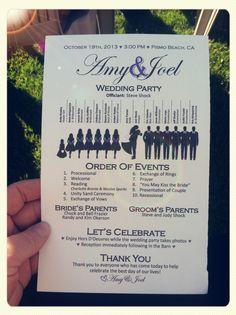 Wedding Program love the style! Brides family pays