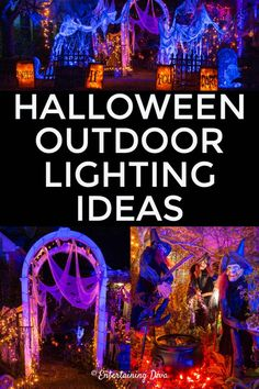 Awesome Halloween lighting ideas! I'm going to use these outdoor Halloween decorations to create a spooky yard haunt in my front yard. Halloween Graveyard, Halloween Scene, Halloween Banner, Halloween Displays, Scary Halloween, Fall Halloween, Halloween Crafts, Happy Halloween, Halloween Camping