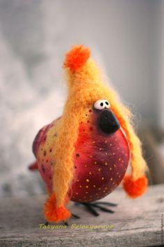 Купить Типаснегирь - разноцветный, снегирь, птичка, ватное папье-маше, ватная игрушка, смешная птичка