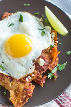 Chilaquiles with Homemade Tomato Sauce & Fried Eggs