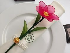 Pink nylon flower napkin ring, wedding favors/ mother's day, place card holder $2.75
