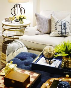 Family Room Living Room Decor | Navy Tufted Ottoman | Coffee Table Styling  | @classyglamliving