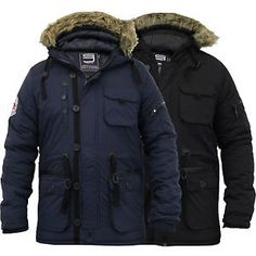 Mens Parka Jacket Smith & Jones Coat Padded Quilted Fur Hooded Patches  Winter