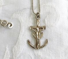 Anchor Cross Necklace Sterling Silver by VintageVogueTreasure