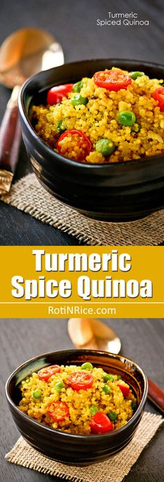 This Turmeric Spiced Quinoa is lightly pan fried with spices and mixed with green peas and grape tomatoes. It is deliciously nutty and flavorful! | RotiNRice.com