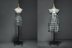 """Left: Paco Rabanne (French, born Spain, 1934). Dress, 1967, Haute Couture.  Right: Hussein Chalayan (British, born Cyprus, 1970). """"One Hundred and Eleven"""" Mechanical Dress, spring/summer 2007, Prêt–à–Porter. Photo © Nicholas Alan Cope. #ManusxMachina #CostumeInstitute"""