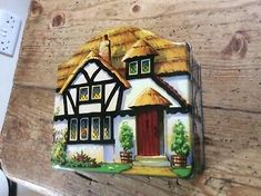 Vintage Cottage Tin made by Tuckers Totnes. It is in great condition very clean inside and out.NO rusty marks. It is 5 inches wide by 4 1/2 tall. Thatched House, Box Houses, Tin, Cottage, Ebay, Shapes, Crates, Pewter, Cottages