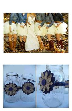 10 Burlap Blue Levi Button Jeans Mason Jar Country Rustic Wedding Decorations