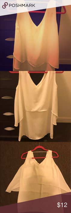 White long, doubled layered top White long, doubled layered top Mango Tops Tank Tops