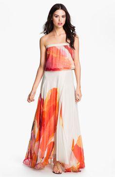 Abstract Floral Chiffon Maxi Dress