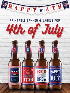 Cute printable 4th of July beer bottle labels and banner