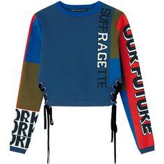 トップ ❤ liked on Polyvore featuring tops, sweaters, sweatshirts and blue top