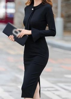 Back Slit Black Round Neck Sheath Dress - Back Slit Black Round Neck Sheath Dress – modilys Source by - Classy Work Outfits, Classy Dress, Outfit Work, Dress Outfits, Casual Dresses, Fashion Dresses, How To Have Style, Elegant Dresses For Women, Necklines For Dresses
