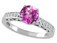 Genuine Lab Created Pink Sapphire and Diamond Solitaire Engagement Ring pink sapphire engagement rings