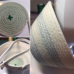 Easter Basket coiled ropeware. Storage Tubs, Fabric Bowls, Rope Basket, Cotton Rope, Easter Baskets, Tote Bag, Sewing, Crafts, Diy And Crafts