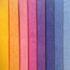The sun glows warm in yellow and peach. Then fades to pinks and purples before it blends into the blue sky.- Eight colors bundled and sold together- Hand Dyed 100% Cotton- Machine washable in Synthrapol- Coordinating Yardage colors: Cornflower, Purple Haze