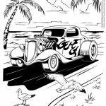 A Hot Rod Car Running Along The Beach Coloring Page