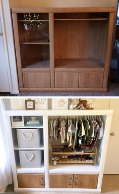 Entertainment Center Repurposed Baby Wardrobe furniture before and after furniture upcycling furniture dresser furniture ideas furniture bedroom Refurbished Furniture, Repurposed Furniture, Furniture Makeover, Diy Furniture Repurpose, Dresser Repurposed, Handmade Furniture, Baby Furniture, Furniture Projects, Furniture Design