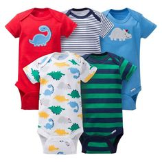 Gerber® Baby Boys' 5pk Striped Dino Onesies® - Red/Blue NEW BORN FREE SHIPPING…