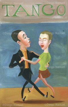 tango milonguero, acrylic on canvas, 100 x 65 cm By Diego Manuel